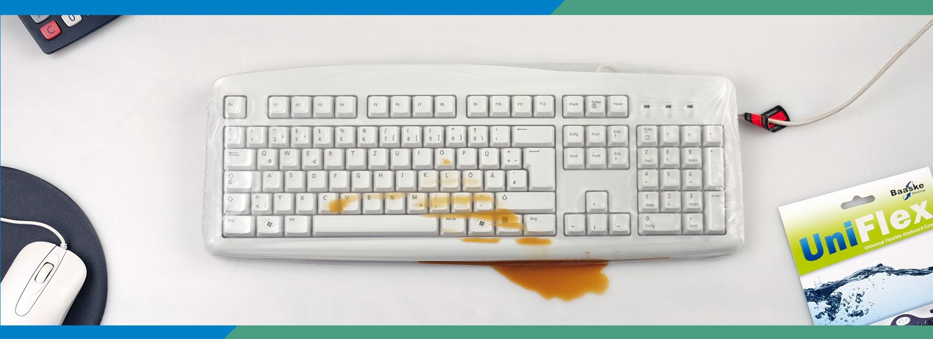Tastatur Schutzfolie UNI FLEX schützt vor Flüssigkeiten