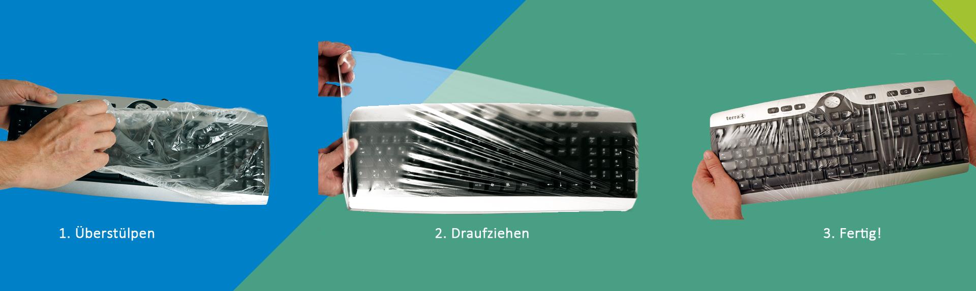Anwendung der Tastatur Schutzfolie UNI FLEX
